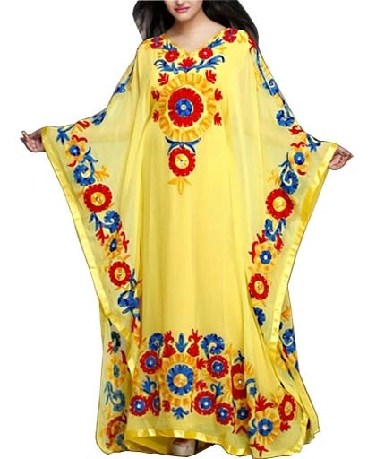 Full embroidery kaftan with matching stone