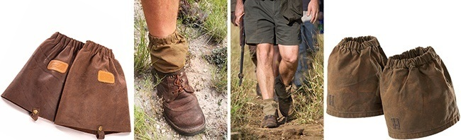 Short ankle gaiters made from canvas or leather are most practical for walking safaris