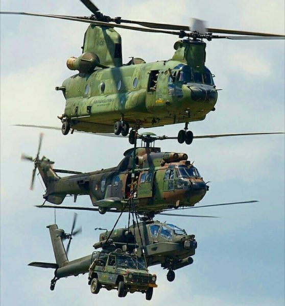 British Air Force Chinook, Super Puma and Apache helicopter