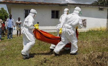 Medics carrying a corpse of Ebola victims during the latest outbreak of the diseases in DR Congo