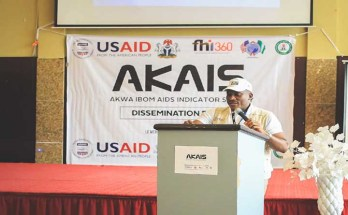 FHI 360 Nigeria Country Director Dr Robert Chiegil, speaking during the dissemination event
