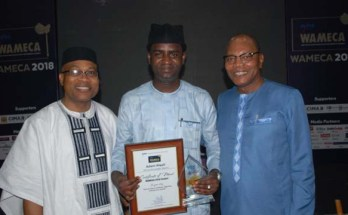 Adam Alqali, the awardee (centre); special guest of honour at the event, Mohammed Ibn Chambers, the Special Representative of the UN Secretary General and Head of United Nations Office for West Africa and the Sahel (Right) and Remi Ajibewa, Director of Political Affairs at the Economic Community of West African States (ECOWAS) shortly after the awards event in Accra, Ghana