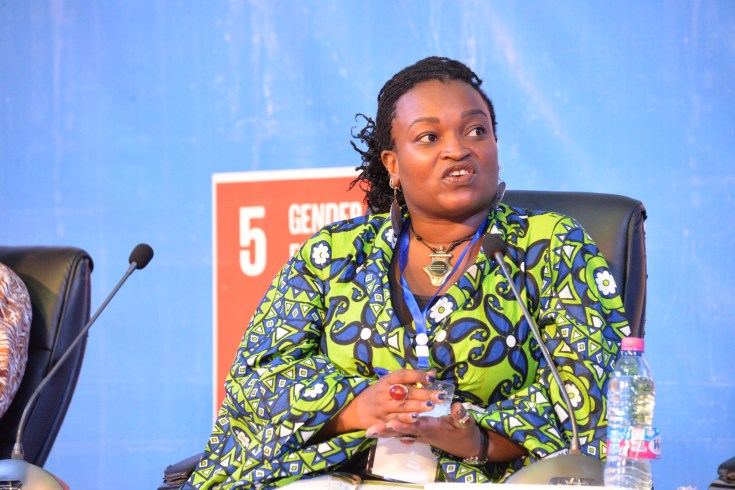 Kijala Shako, the active citizenship and engagement advisor  for Oxfam's Pan Africa Programme (PAP) speaking at the recently held African Youth SDGs Summit in Accra.