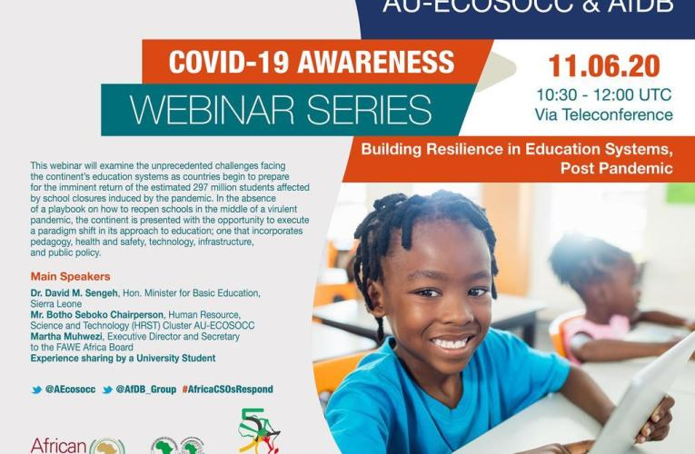 Building resilience in Africa's education systems, post COVID-19