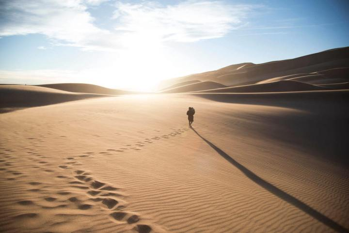 walking on the desert dunes