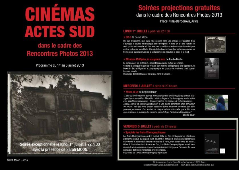 Depliant soirées de projection Arles Cinemas Actes Sud 2013