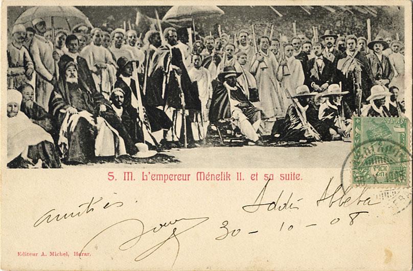 S. M. L'empereur MŽnelik II. et sa suite. Editeur A. Michel, Harar.