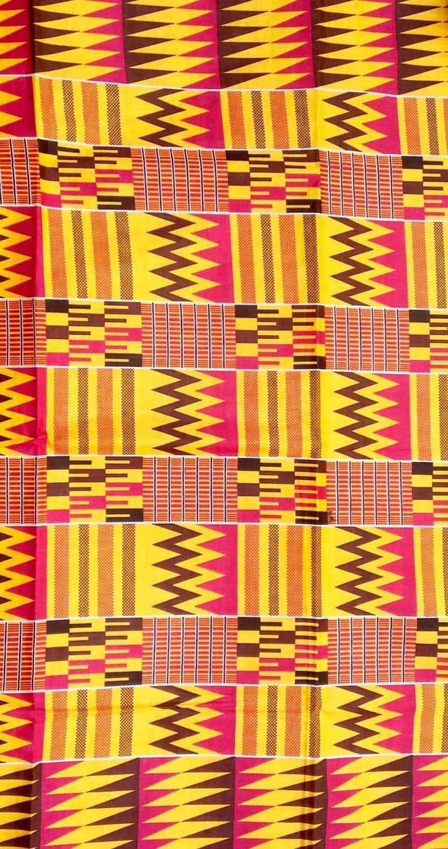Tissu Africain Wax Jaune Rose Et Marron Motif Style