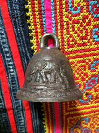 Elephant bell on hill tribe textile