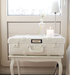 White Vintage Suitcase Nightstand - Wanderlust Style: Suitcases as Decor - www.AFriendAfar