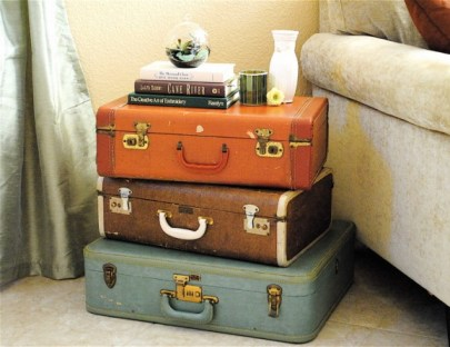 Suitcase SideTable - Wanderlust Style: Suitcases as Decor - www.AFriendAfar