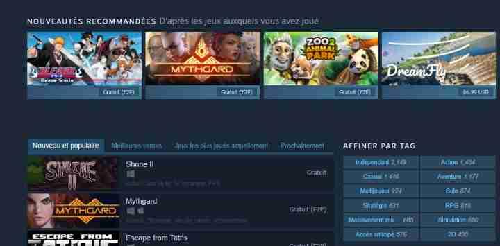 Steam Jeux-vidéo gratuits