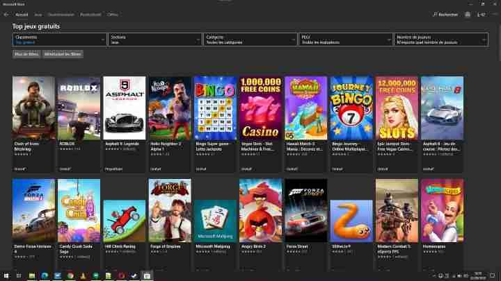 Windows Store Jeux-vidéo gratuits