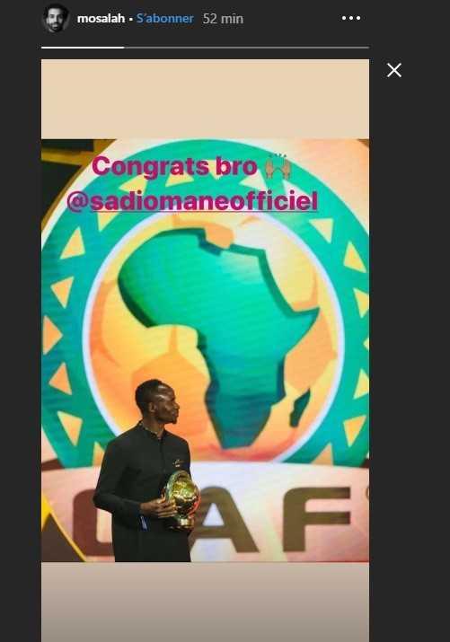 CAF Awards 2019: la réaction de Mohamed Salah après le sacre de Sadio Mané