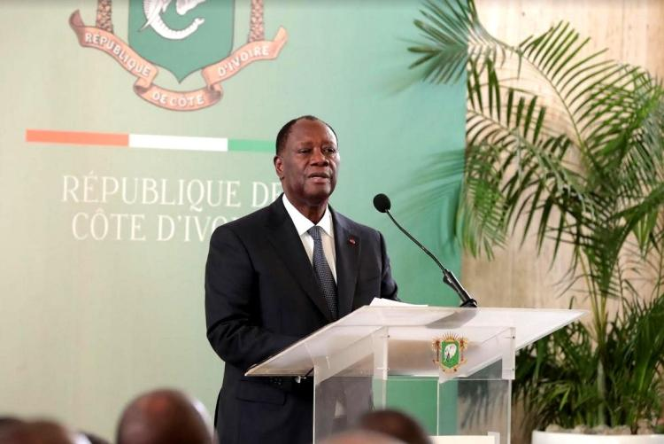 Alassane Ouattara, présidence ivoirienne le 6 janvier 2020. Photo: Cicg