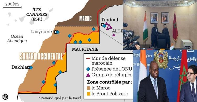 photo: afrikipresse ( montage) le ministre Aly Coulibaly et son homologue Marocain à la cérémonie d'inauguration du consulat général de la CI au Laayoune ( sahara occidental)