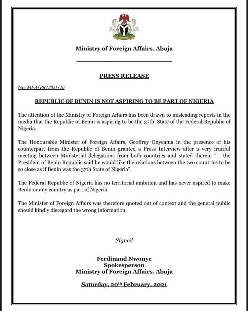 La République du Bénin prête à devenir le 37e État du Nigeria? Le gouvernement nigérian réagit !