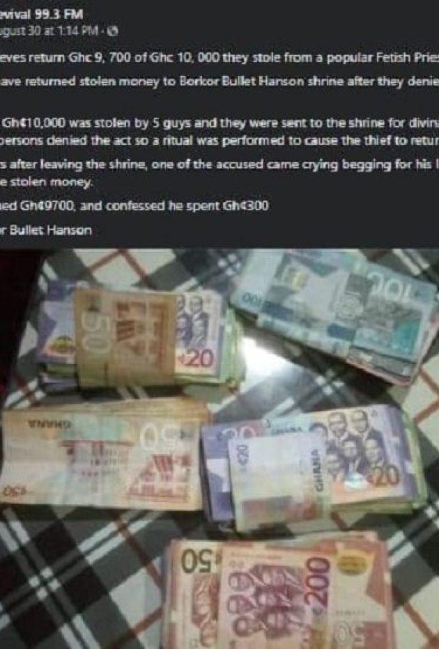 Ghana: des voleurs restituent l'argent volé après que leur victime ait signalé le vol à un marabout