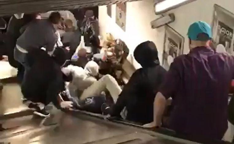 Photo of Escalator goes crazy in metro Rome: 20 Russian football fans injured