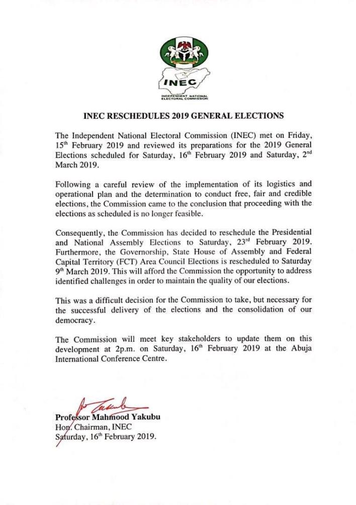 INEC, Buhari govt should be blamed for postponement of the general election – Atiku
