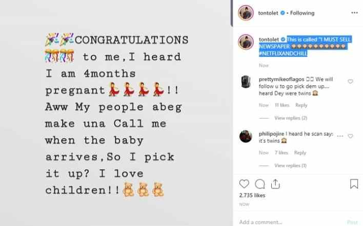 "Tonto Dikeh reacts to ""4 months pregnant for Bobrisky"""