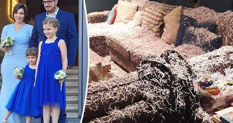 Photo of Couple return from their wedding, their home full of shredded paper