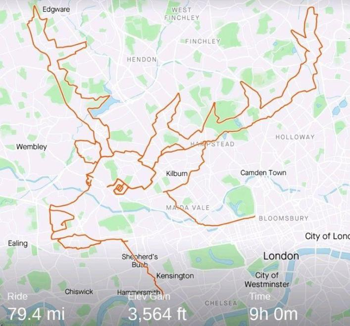 Cycling Brit creates reindeer on Strava in 9 hours