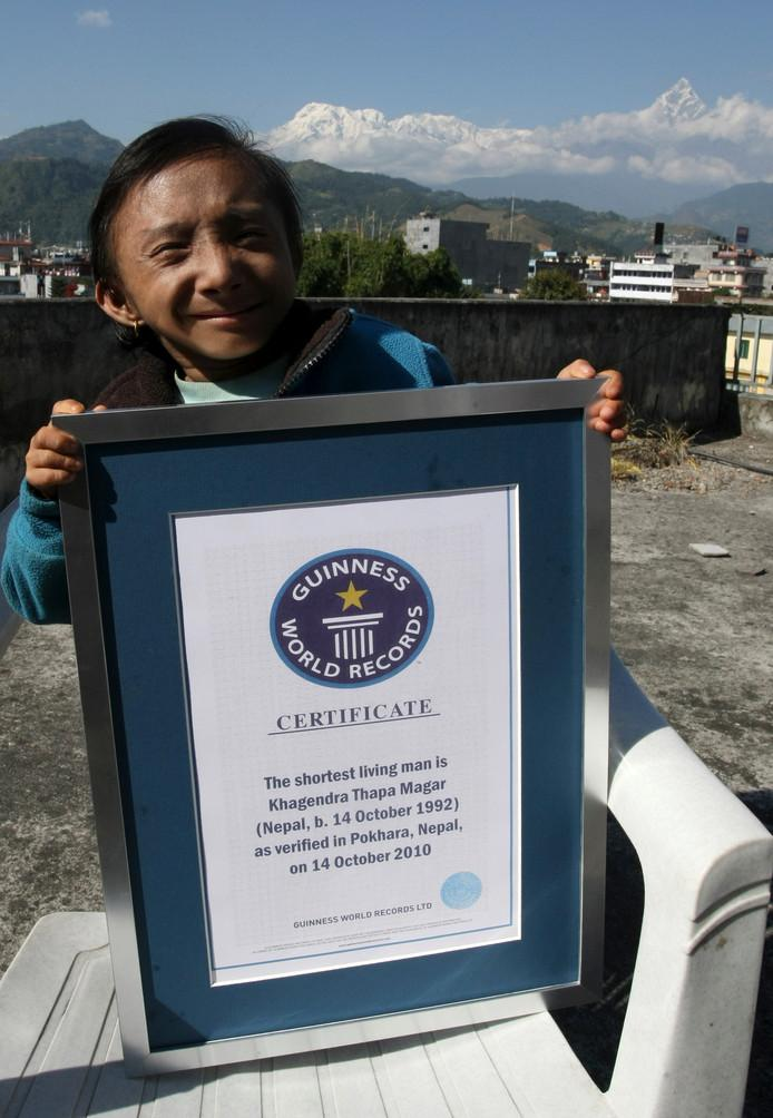 In October 2010, Khagendra Thapa Magar received a certificate from Guinness World Records for the smallest man