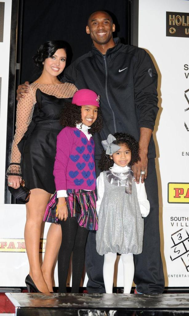 Kobe Bryant with wife Vanessa and two of his four daughters Natalia Diamante and Gianna Maria-Onore.