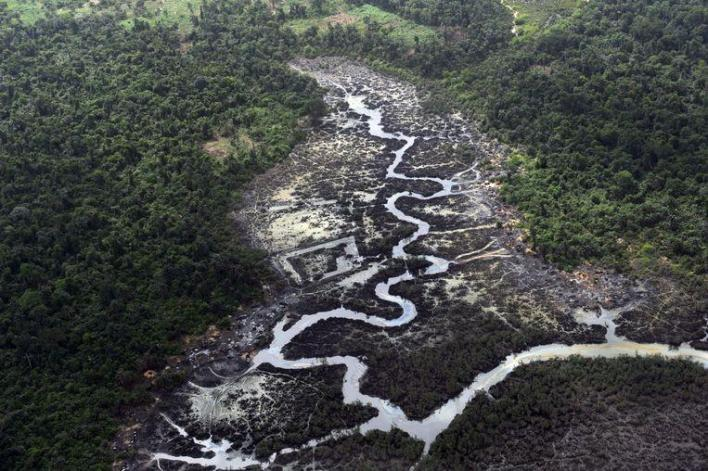 Oil pollution in the Niger Delta in 2013.