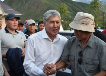 (FILES) In this file photo taken on June 27, 2019 Former Kyrgyz president Almazbek Atambayev meets with supporters in the village of Koi-Tash near the capital Bishkek. – Kyrgyz special forces stormed the compound of former president Almazbek Atambayev on August 7, 2019 and clashed with his supporters, his representative said, as the authorities apparently moved to prosecute the ex-leader on corruption charges after stripping him of immunity. (Photo by Vyacheslav OSELEDKO / AFP)