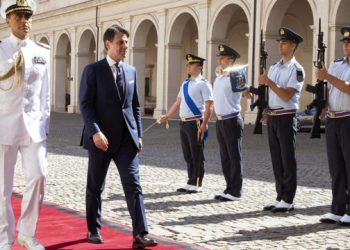 """A handout picture taken and released by the Quirinale Press Office of September 4, 2019 shows Italy's premier-designate Giuseppe Conte arriving at Rome's Quirinale Presidential palace on September 4, 2019, to present to Italian President the new coalition cabinet as he races to resolve the Italyís political crisis. (Photo by – / Quirinale Press Office / AFP) / RESTRICTED TO EDITORIAL USE – MANDATORY CREDIT """"AFP PHOTO /"""