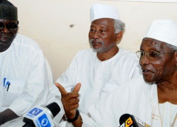 PIC 13. FROM LEFT: LEGAL ADVISER, AREWA CONSULTATIVE FORUM, MR BITRUS GWADAH;   FORMER MINISTER OF AGRICULTURE, ALHAJI SANI DAURA AND CHAIRMAN, NORTHERN   ELDERS FORUM, PROF. ANGO ABDULLAHI, ADDRESSING A NEWS CONFERENCE IN KADUNA ON   TUESDAY (16/7/13).