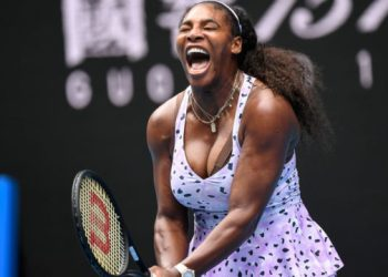 (FILES) In this file photo taken on January 24, 2020, Serena Williams of the US reacts after a point against China's Wang Qiang during their women's singles match on day five of the Australian Open tennis tournament in Melbourne. – Williams committed to play at this year's US Open on June 17, 2020, as US Tennis Association officials vowed they can safely stage the first Grand Slam since the coronavirus pandemic shutdown. (Photo by William WEST / AFP) / IMAGE RESTRICTED TO EDITORIAL USE – STRICTLY NO COMMERCIAL USE