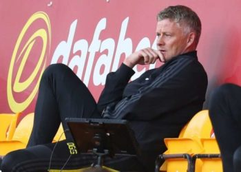 Manchester United's Norwegian manager Ole Gunnar Solskjaer watches from the stands during the English FA Cup quarter-final football match between Norwich City and Manchester United at Carrow Road in Norwich, eastern England on June 27, 2020. Catherine Ivill / POOL / AFP