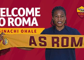 A poster by AS Roma Women announcing the signing of Super Falcons defender Osinachi Ohale. COURTESY: TWITTER/AS Roma Women