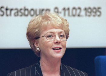 """(FILES) This file photo taken on February 9, 1995 shows then Icelandic President Vigdis Finnbogadottir addressing participants at the start of a conference entitled """"Man-Woman Equality: Utopia or Challenge"""", organized by the European Council, in Strasbourg's Palace of Europe. – When Vigdis Finnbogadottir assumed Iceland's presidency 40 years ago, on August 1, 1980, she made history as the first elected female head of state in the world, and four decades later the 90-year-old remains a role-model to Icelanders. With 16 consecutive years in office, thanks to three re-elections, the former teacher and theatre director holds the record for elected female heads of state and government, though Germany's Angela Merkel could match her next year. (Photo by ERIC CABANIS / AFP)"""