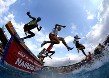 NAIROBI, KENYA - JULY 16:  A general view during the final of the mens 2000m steeplechase on day five of the IAAF U18 World Championships at The Kasarani Stadium on July 16, 2017 in Nairobi, Kenya.  (Photo by Ben Hoskins/Getty Images for IAAF)