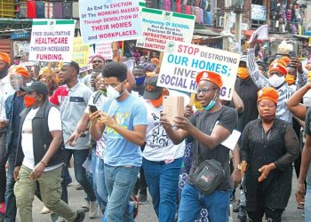 Members of #RevolutionNow during their peaceful protest in commemoration of first anniversary of the group, in Lagos…yesterday. PHOTO: AYODELE ADENIRAN