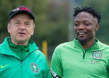 Super Eagles coach and Musa. Photo; TWITTER/NGSUPEREAGLES