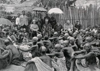 The ceremony which formally incorporated the Ewi of Ado's kingdom in the British Lagos Protectorate. Photo The Queen's Empire A pictorial and descriptive record