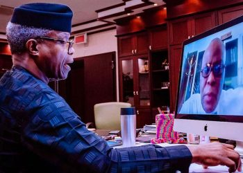 Vice President Yemi Osinbajo virtually meeting with the Lagos University Teaching Hospital (LUTH) COVID-19 research team, led by Prof. Femi Babalola, in Abuja…yesterday.