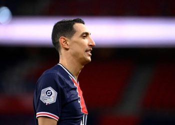Paris Saint-Germain's Argentinian forward Angel Di Maria reacts during the French L1 football match between PSG and Nantes at the Parc des Princes stadium in Paris on March 14, 2021. (Photo by FRANCK FIFE / AFP)