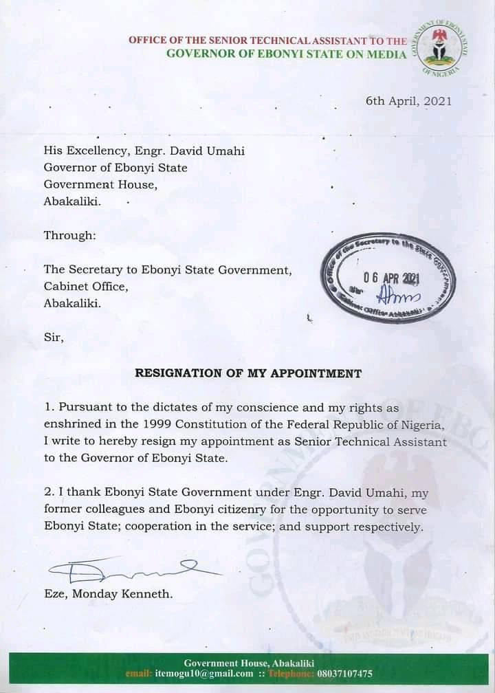 """Monday Kenneth Eze Another Governor Umahi's Aide Resigns, Cites """"His Conscience"""""""