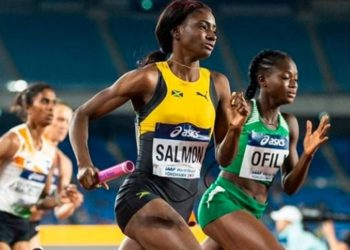 Favour Ofili (right) was in Nigeria's 4x400m relay team that picked Tokyo Olympics ticket in Lagos yesterday