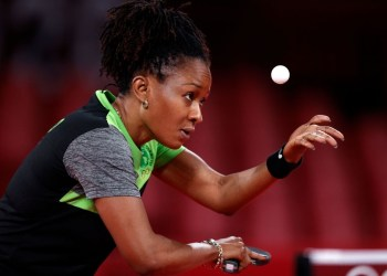 Olufunke Oshonaike of Team Nigeria in action during her women's singles preliminary round table tennis match of the Tokyo 2020 Olympic Games at Tokyo Metropolitan Gymnasium on July 24, 2021 in Tokyo, Japan. Photo: AFP