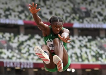 Nigeria's Ese Brume competes in the women's long jump final during the Tokyo 2020 Olympic Games at the Olympic Stadium in Tokyo on August 3, 2021. (Photo by Andrej ISAKOVIC / AFP)