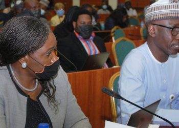 Group Managing Director, Nigerian National Petroleum Corporation, Mele Kyari (right) and Group General Manager, Corporate Planning and Strategic, Mrs. Oritse Meyiwa Eyesan, during the 2022-2024 Medium-Term Expenditure Framework (MTEF) and Fiscal Strategy Paper (FSP) interactive session with the House of Representatives Committee on Finance in Abuja…yesterday. PHOTO: LUCY LADIDI ATEKO
