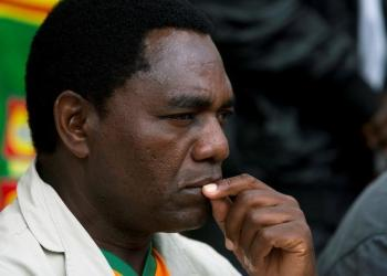 FILE PHOTO: United Party for National Development (UPND) Presidential candidate Hakainde Hichilema looks on during a rally in Lusaka, January 18, 2015. REUTERS/Rogan Ward/File Photo