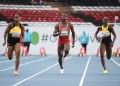 Namibia's Beatrice Masilingi (C), Jamaica's Tina Clayton (L),  and Jamaica's Kerrica Hill compete in the 100m women's final during the U20 World Athletics Championships at the Kasarani Stadium in Nairobi on August 19, 2021. (Photo by SIMON MAINA / AFP) (Photo by SIMON MAINA/AFP via Getty Images)